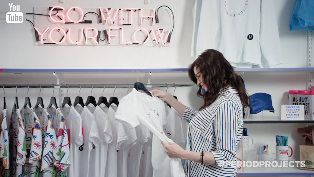 Woman shopping at the world's first Pop-Up Period Shop.