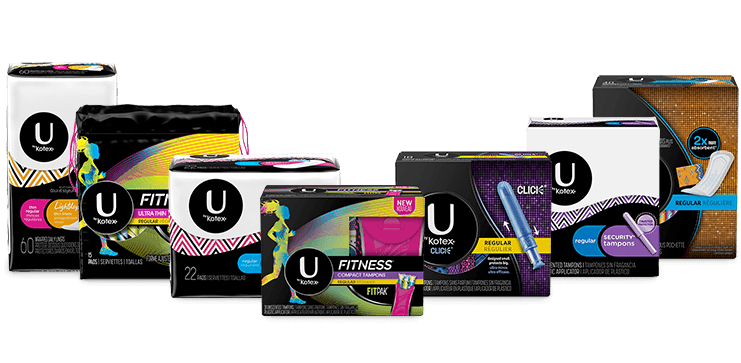U by Kotex tampons, pads, and liners multiple packs