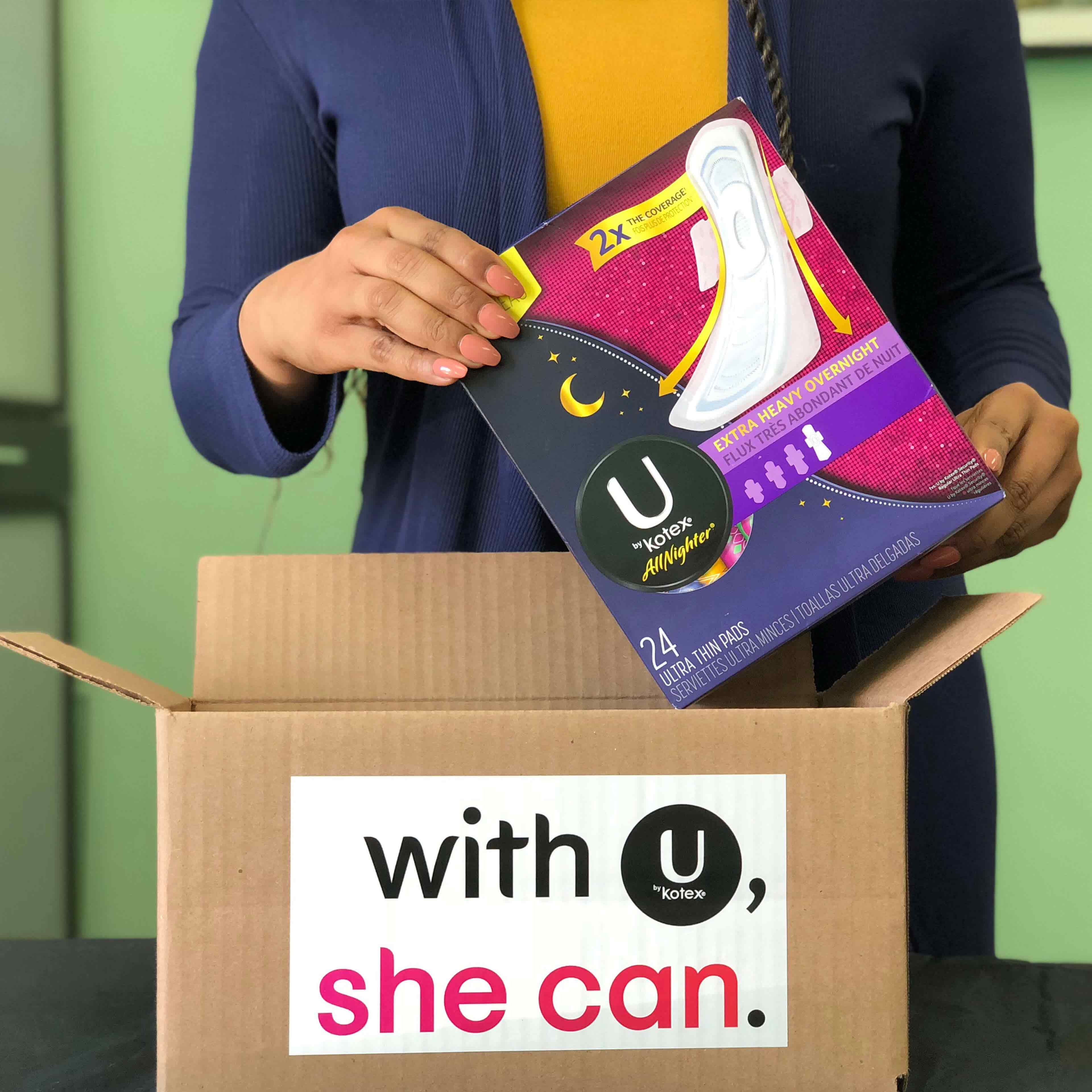 U by Kotex All Nighter Extra Heavy Overnight pads mailed to women everywhere