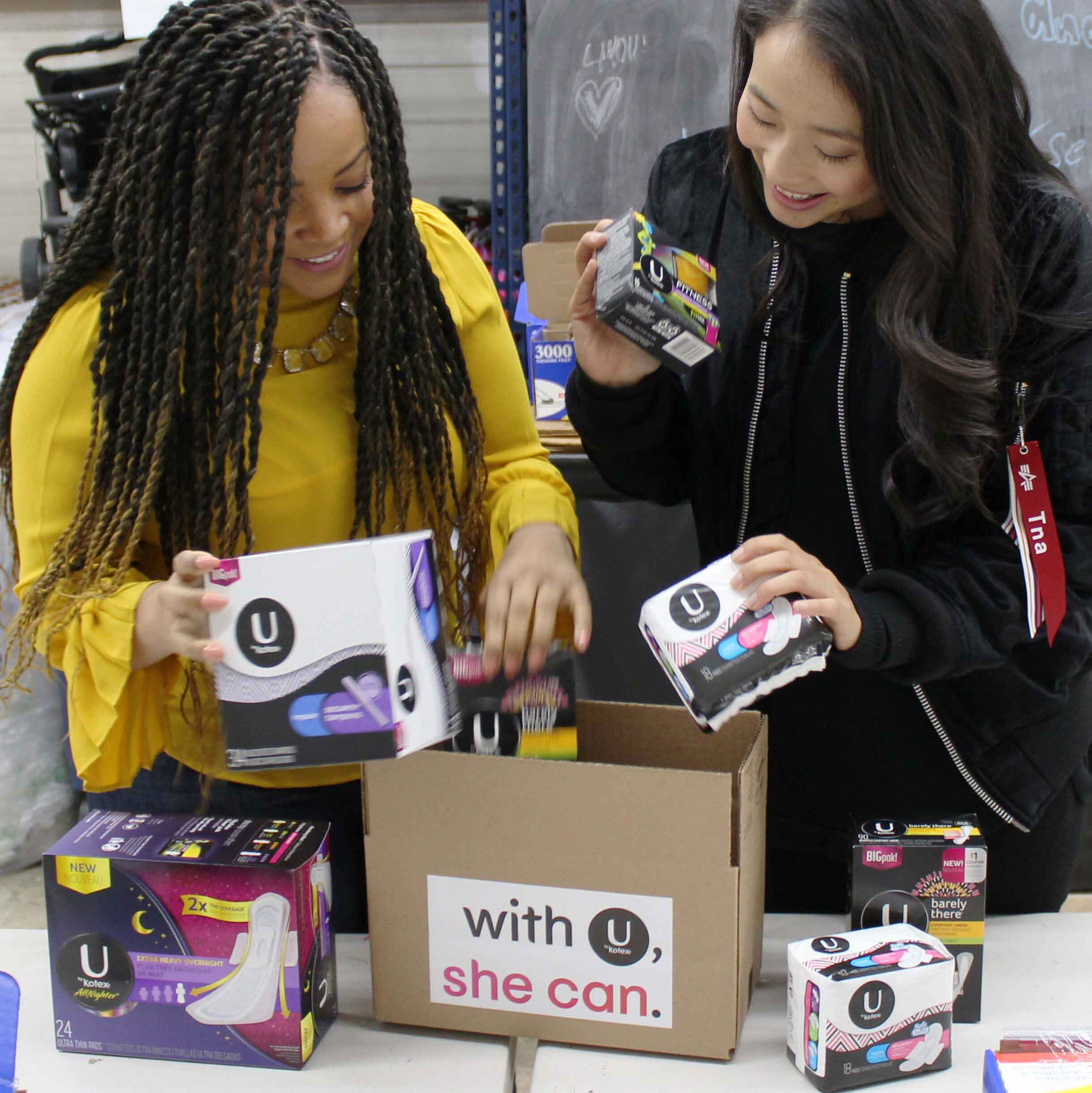 Packing U by Kotex tampons, pads and liners to ship to women in need