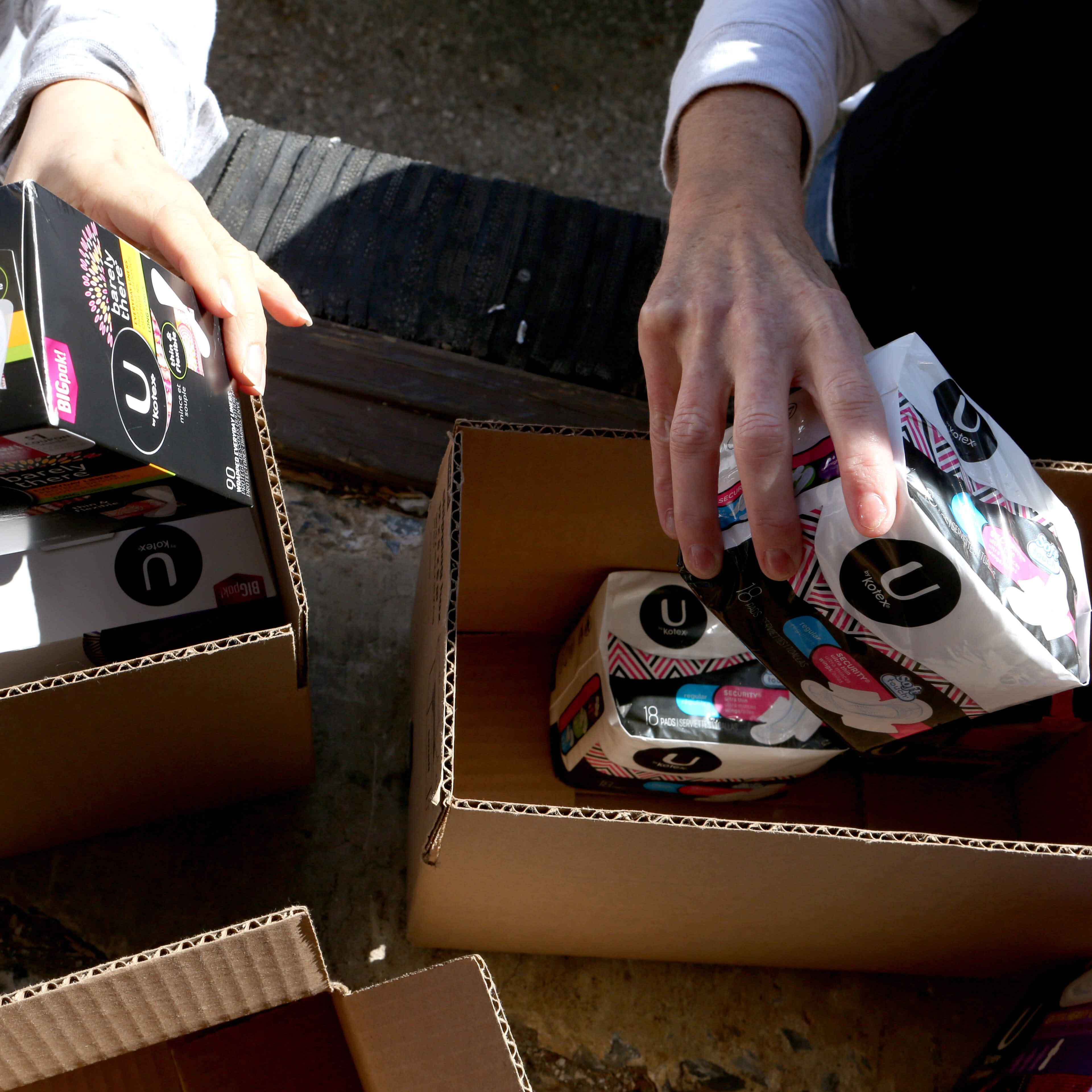 U by Kotex tampons, maxi pads, and liners are being packed to send to women in need