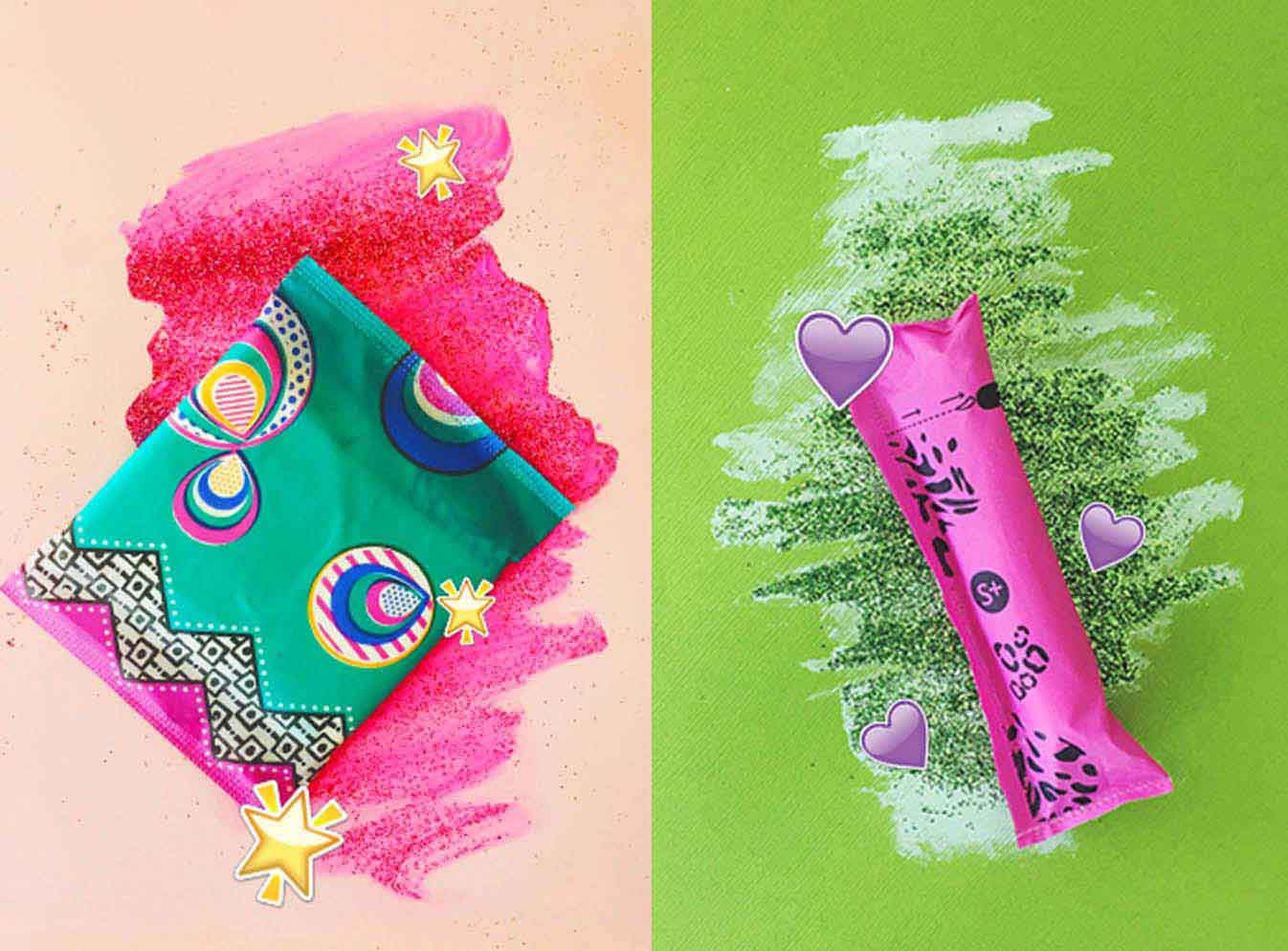 U by Kotex pad and tampon vibrant color backgrounds