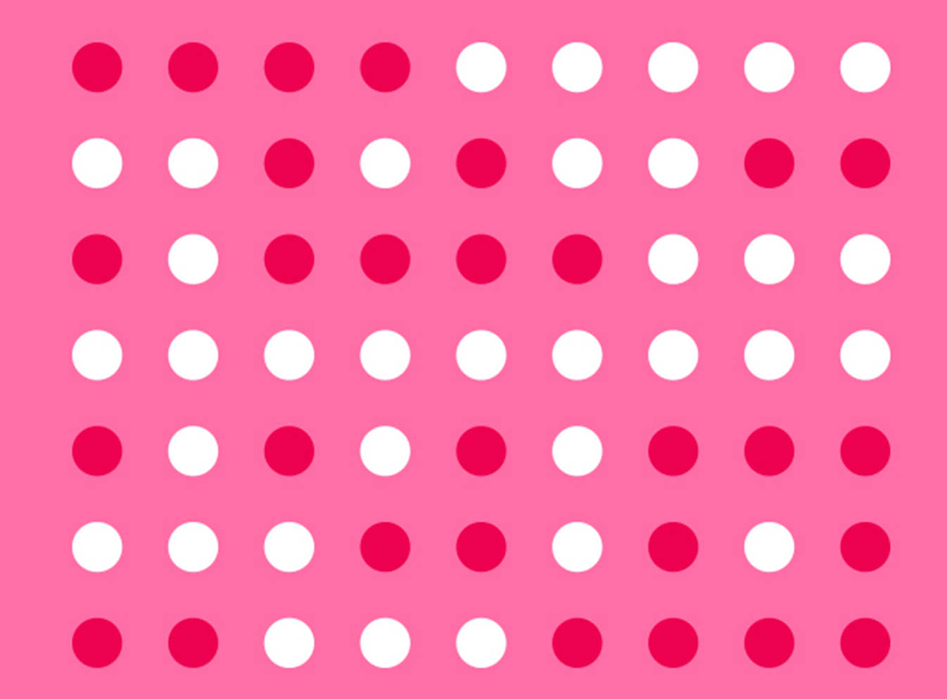 Red and white dots on pink background