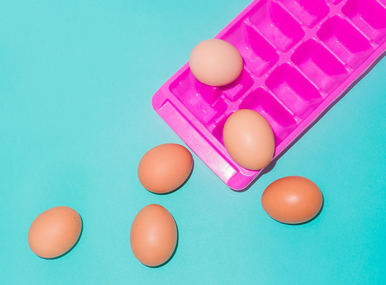 Eggs on an ice cube tray