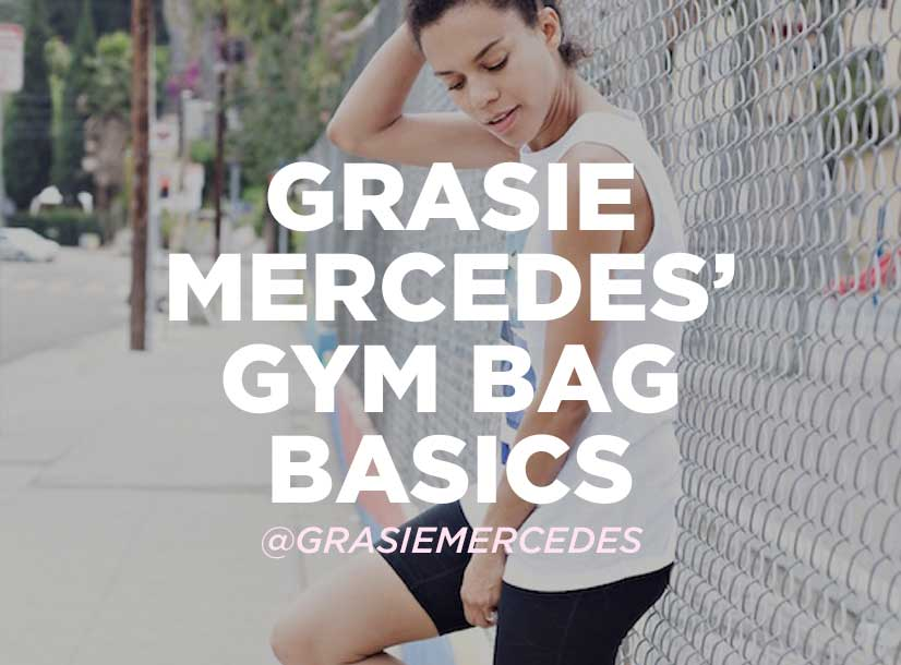 Woman outside along fence in shorts and t-shirt. Text on image reads Grasie Mercedes Gym Bag Basics.