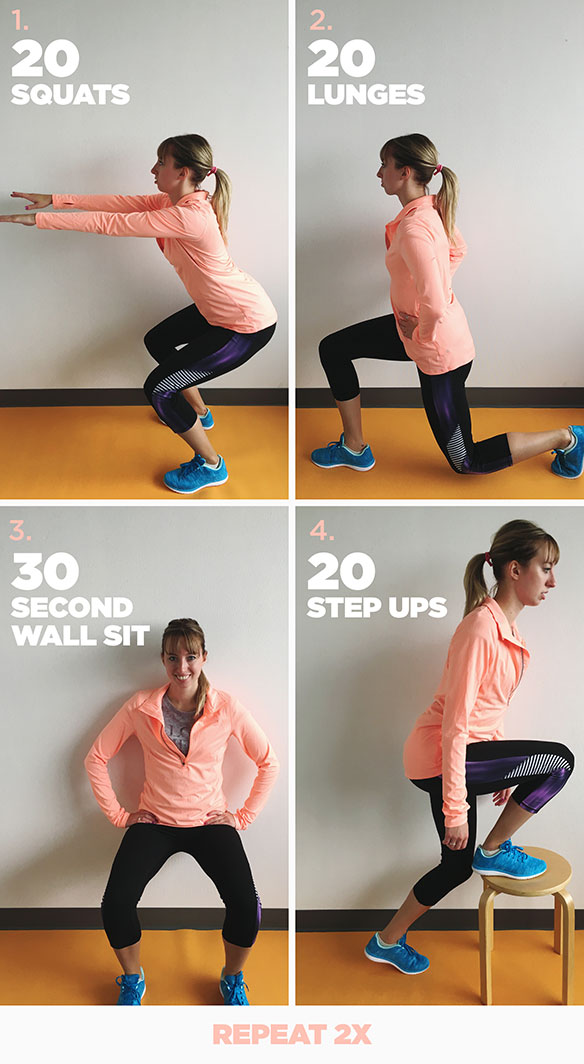 Four images of a female demonstrating workout poses.