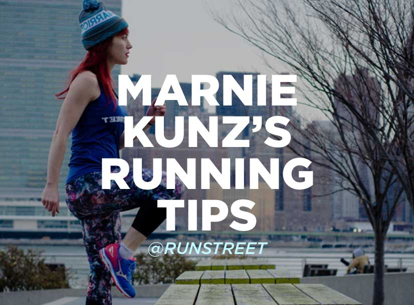 Woman in red hair performing exercises outside in city park. Text on image reads Marnie Kunz's running tips.