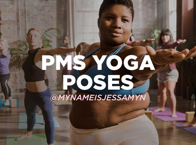 Woman in yoga position. PMS Yoga Poses.