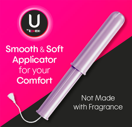U by Kotex® Security® tampons have smooth and soft applicators for comfort