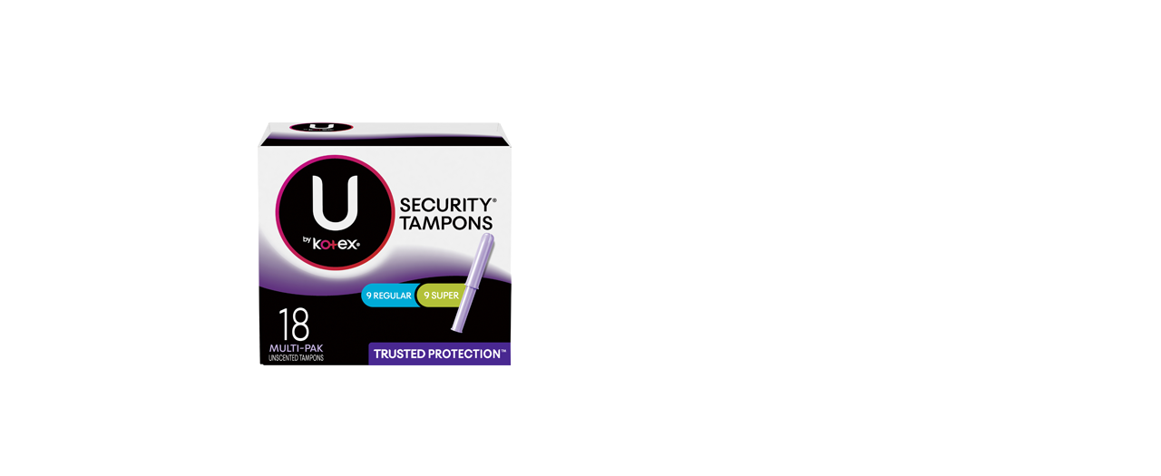 U by Kotex Security Tampons Regular Super unscented tampons 18 multi pack
