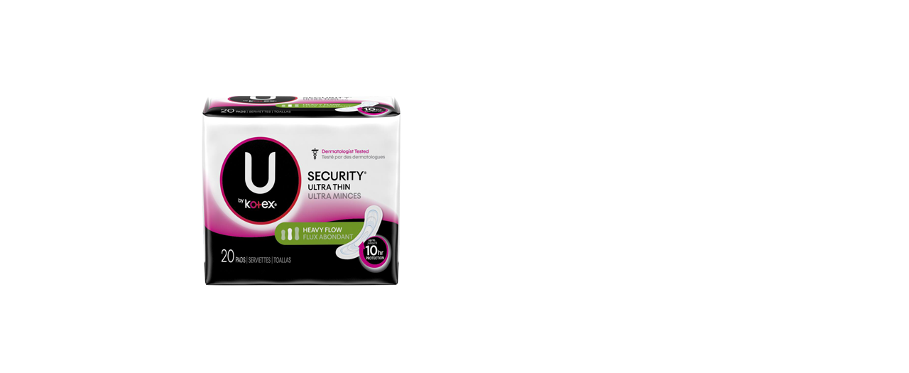U by Kotex Security Ultra Thin Pads Heavy Flow Long 20 pack