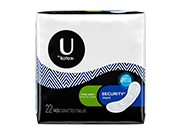 Security maxi pads long super with medium level of absorbency.The image shows a Security maxi pads long super pack which is half white and half black in colour.