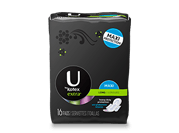 U By Kotex Extra maxi pads long with wings with medium level of absorbency.The image shows a U By Kotex Extra maxi pads long with wings pack, which is black in colour and has Ubykotex logo on its left side. There is a green rectangle on the right side of the pack.