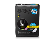 "U By Kotex Extra maxi pads regular with wings with low level of absorbency.The image shows a U By Kotex Extra maxi pads regular with wings pack, which is black in colour and has Ubykotex logo on its left side. There is a yellow rectangle on the right side of the pack in which the text ""Regular"" is written."