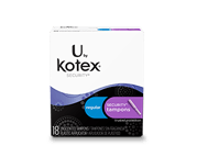 "Security tampons regular. The image shows a pack which is half white and half black in colour.On the white portion ""U by kotex security "" is written and on the black portion there are blue and purple boxes which have ""Regular security tampons"" written on them."