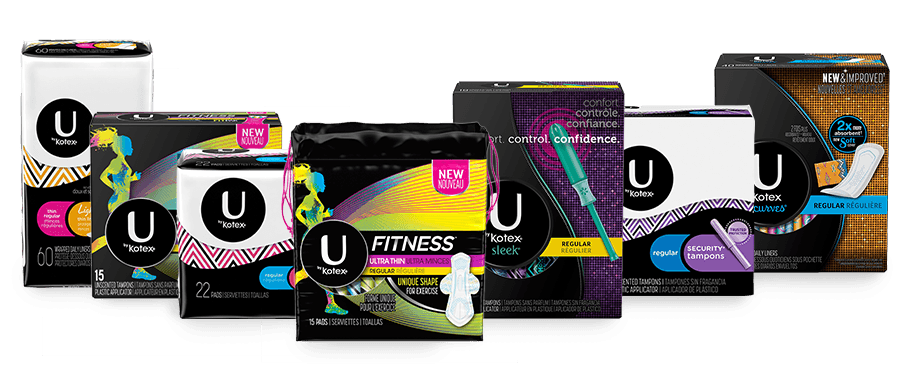 "Ubykotex products.Image shows six products which depicts the range of products offered by Ubykotex.Starting from the left hand side the products are "" soft and silky u by kotex"" which is half white and half black in colour, ""Grip it Ubykotex sleek"" which is half grey and half purple in colour, ""Security ultra thin regular 3D capture core Xpress DRI"" which is half white and half black in colour,""ubykotex cleanwear"" which is black in colour,""security tampons""which is half white and half black in colour, ""Clean and comfy liners"" which is dark grey in colour"