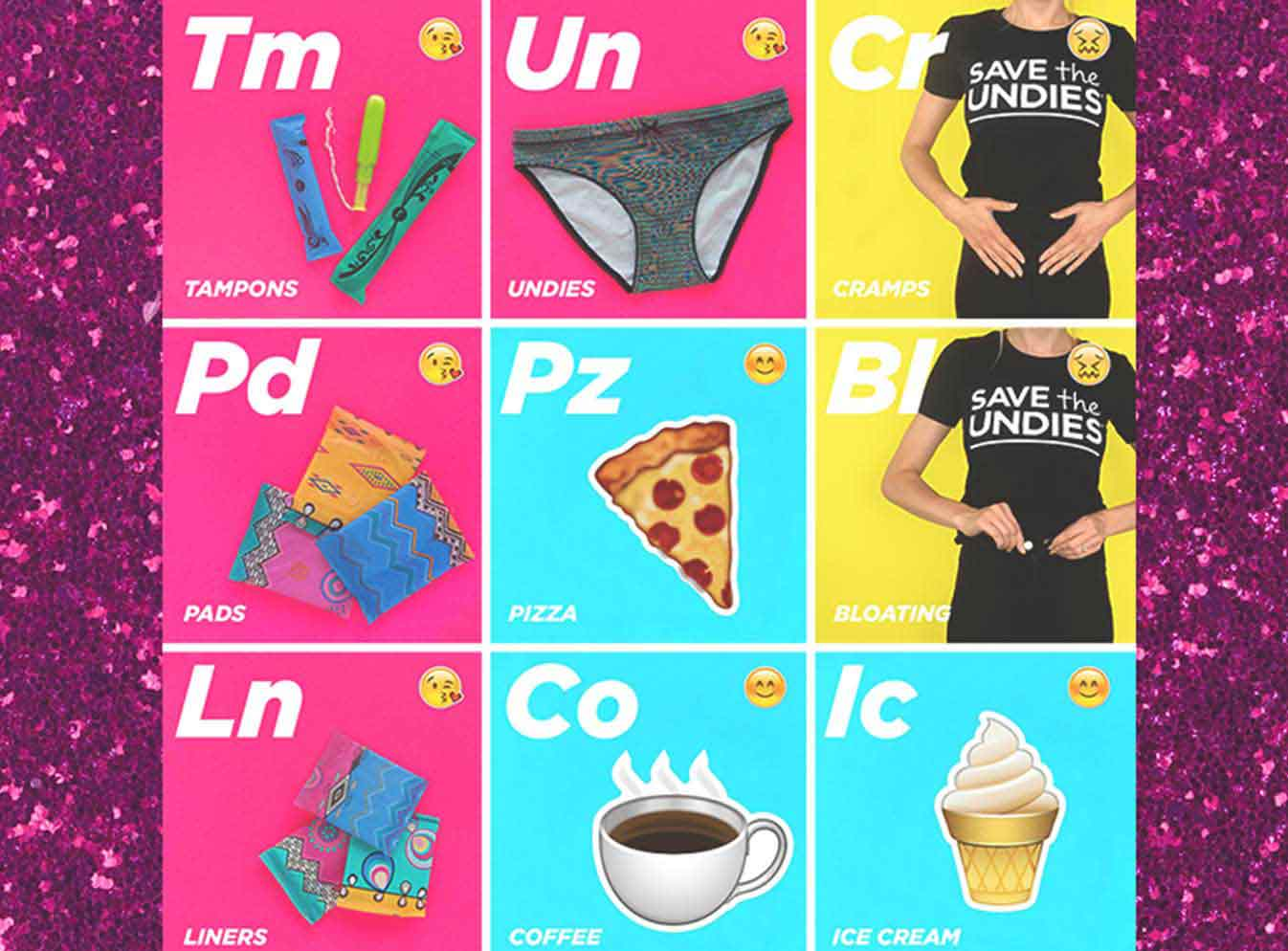 Tampons, pads, liners, underwear, pizza, coffee, icecream icons