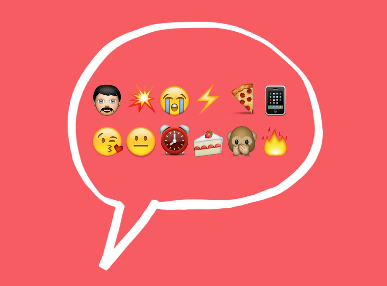 Thought bubble with emoji icons