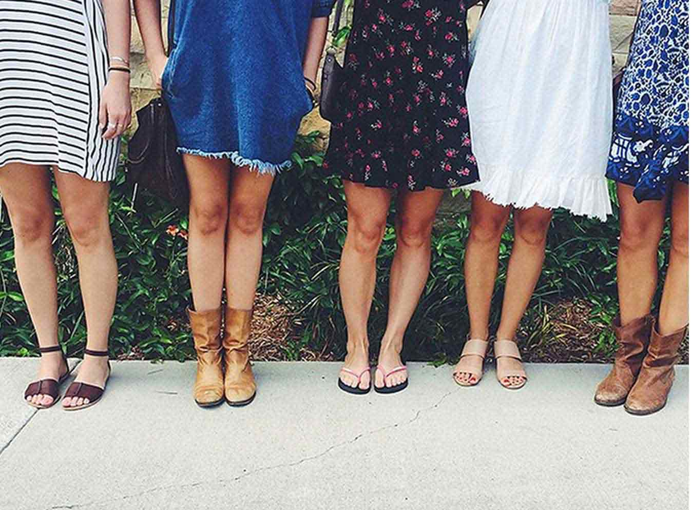 Row of girls legs