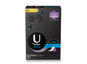 U By Kotex Curves liners with medium level of absorbency.The image shows a U By Kotex Curves liners  pack, which is black in colour and has Ubykotex logo on its left side. There is a blue rectangle on the right side of the pack.
