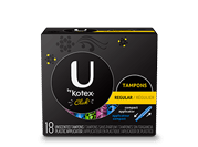 "Tampons regular compact. The image shows a black security tampons regular pack with Ubykotex logo on its left hand side.A yellow rectangular box is present on the right hand side of the pack and has ""Regular"" written on it.The product is used for low level of absorbency"