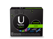 "Tampons super compact.The image shows a black sleek tampons super pack with Ubykotex logo on its left hand side.A green rectangular box is present on the right hand side of the pack and has ""Super"" written on it. The product is used for medium level of absorbency."