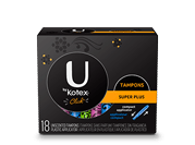 "Click tampons super plus compact.The image shows a black pack sleek tampons regular with Ubykotex logo on its left hand side.A yellow rectangular box is present on the right hand side of the pack and has ""Super plus "" written on it. The product is used for high level of absorbency."