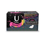 "U By Kotex Tween pads heavy with medium level of absorbency. The image shows U By Kotex Tween pads heavy pack which is half black and half multicoloured. On the black portion ""Ubykotex"" is written and on the coloured portion,an image of a pad exists."