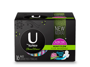"Cleanwear ultra thin pads heavy flow with wings with medium level of absorbency.The image shows a Cleanwear ultra thin pads heavy flow with wings pack, which is black in colour and has Ubykotex logo on its left side. There is a green rectangle on the right side of the pack in which the text ""Heavyflow"" is written."