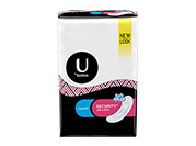 Security ultra thin pads regular pack. The pack is half white and half black and has U by Kotex written in black on its left hand side in the top white portion.